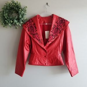 Jackets & Blazers - Red Leather Beaded Jacket Coat NWT Peplum  Hem